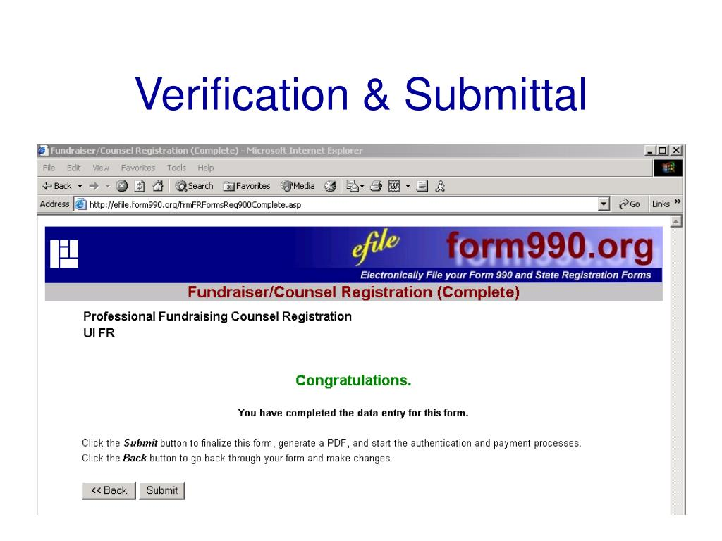 Verification & Submittal