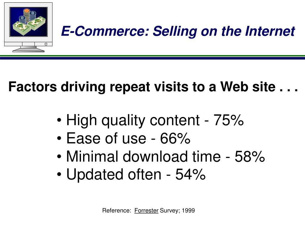 Factors driving repeat visits to a Web site . . .