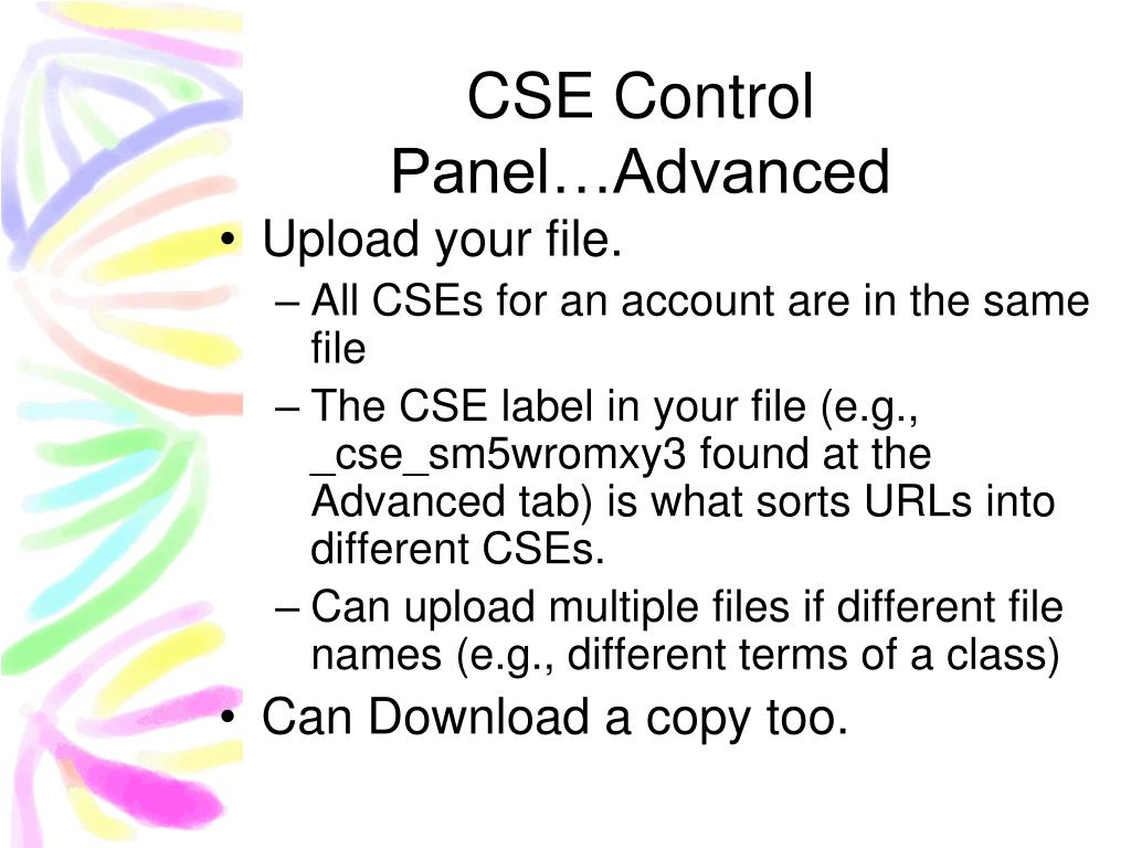 CSE Control Panel…Advanced