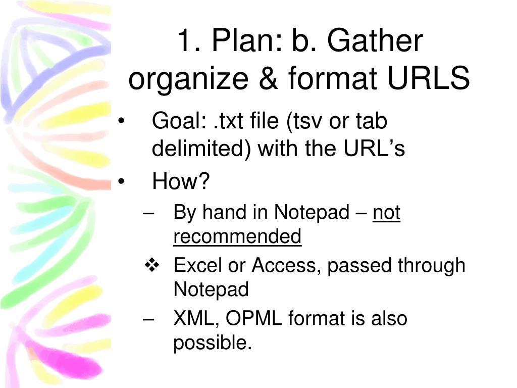 Plan: b. Gather organize & format URLS
