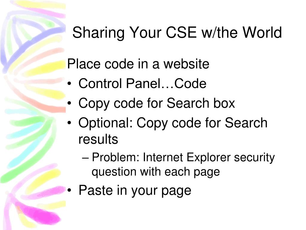Sharing Your CSE w/the World
