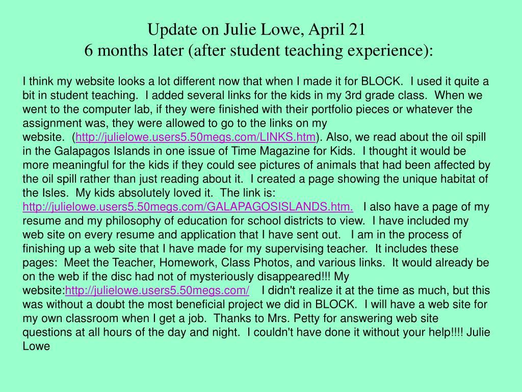 Update on Julie Lowe, April 21
