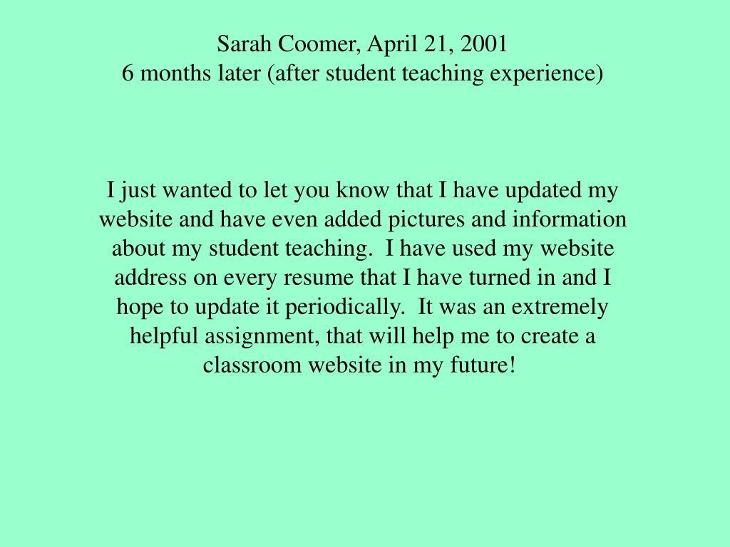 Sarah Coomer, April 21, 2001