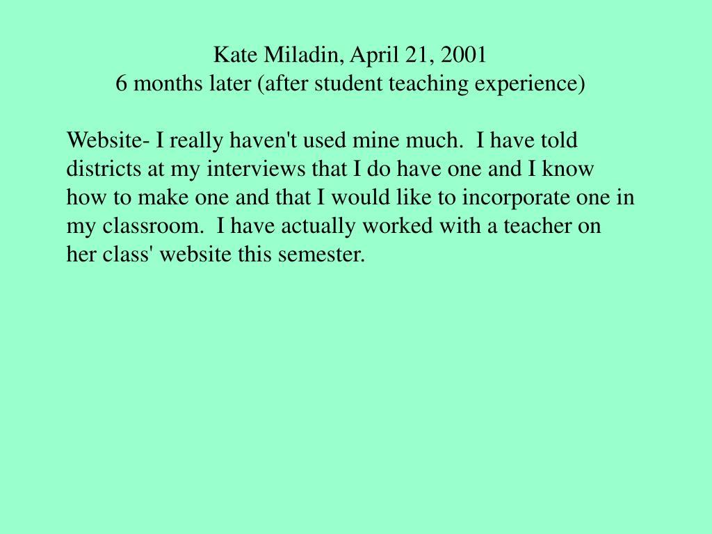 Kate Miladin, April 21, 2001