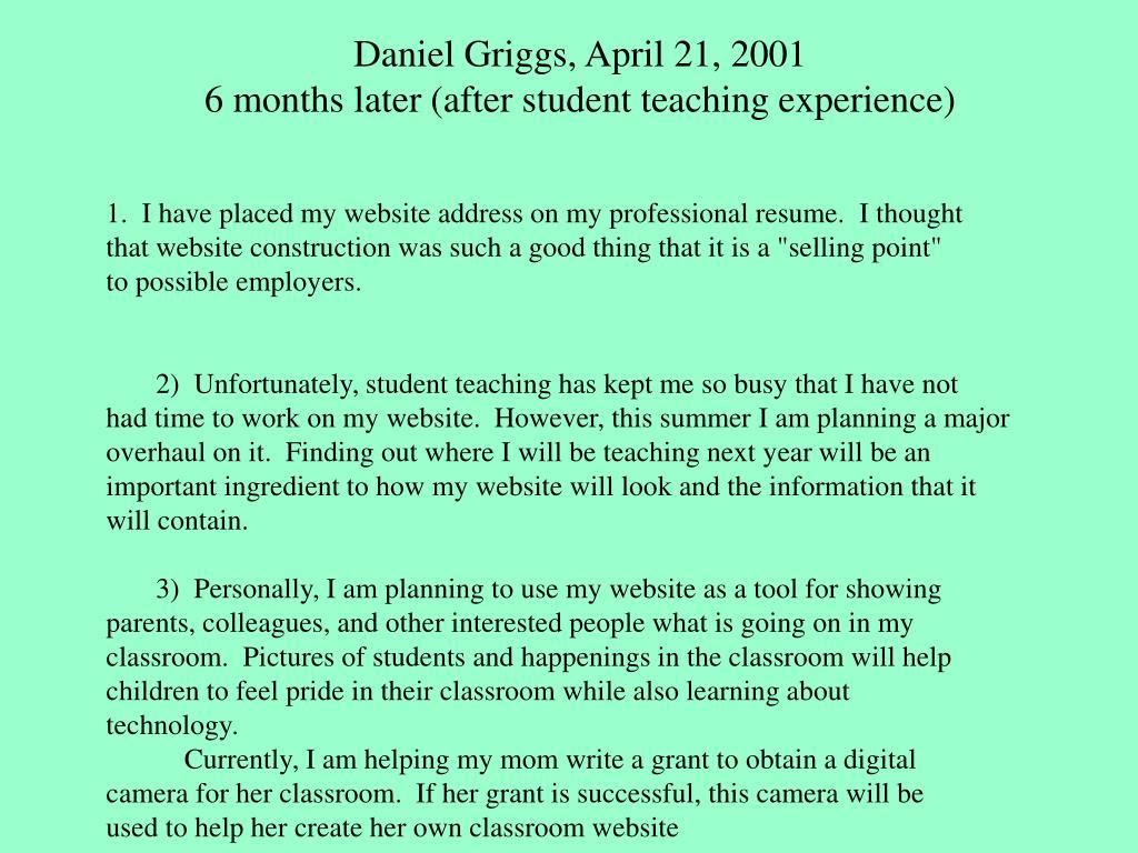 Daniel Griggs, April 21, 2001