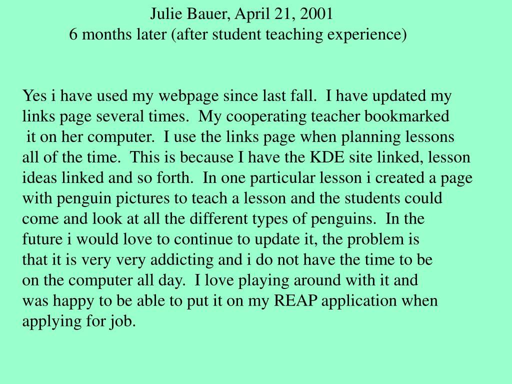 Julie Bauer, April 21, 2001