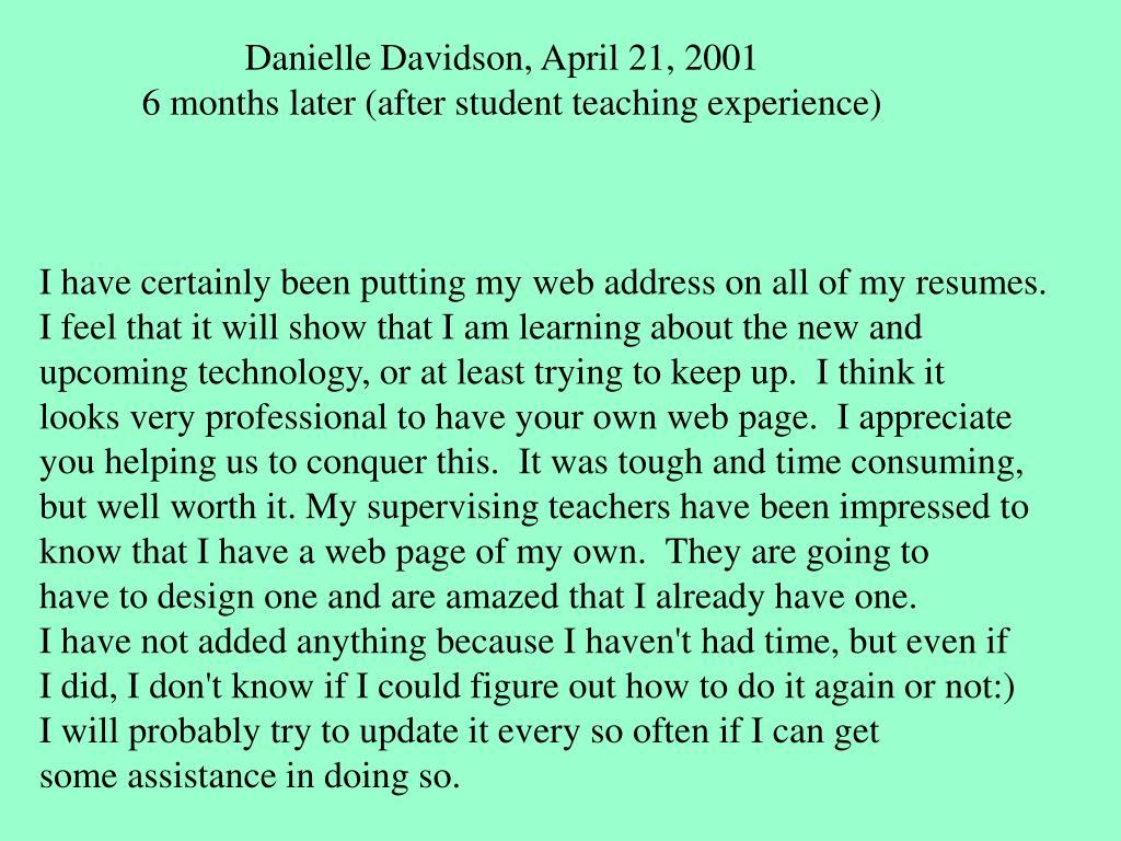 Danielle Davidson, April 21, 2001