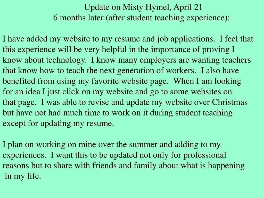 Update on Misty Hymel, April 21