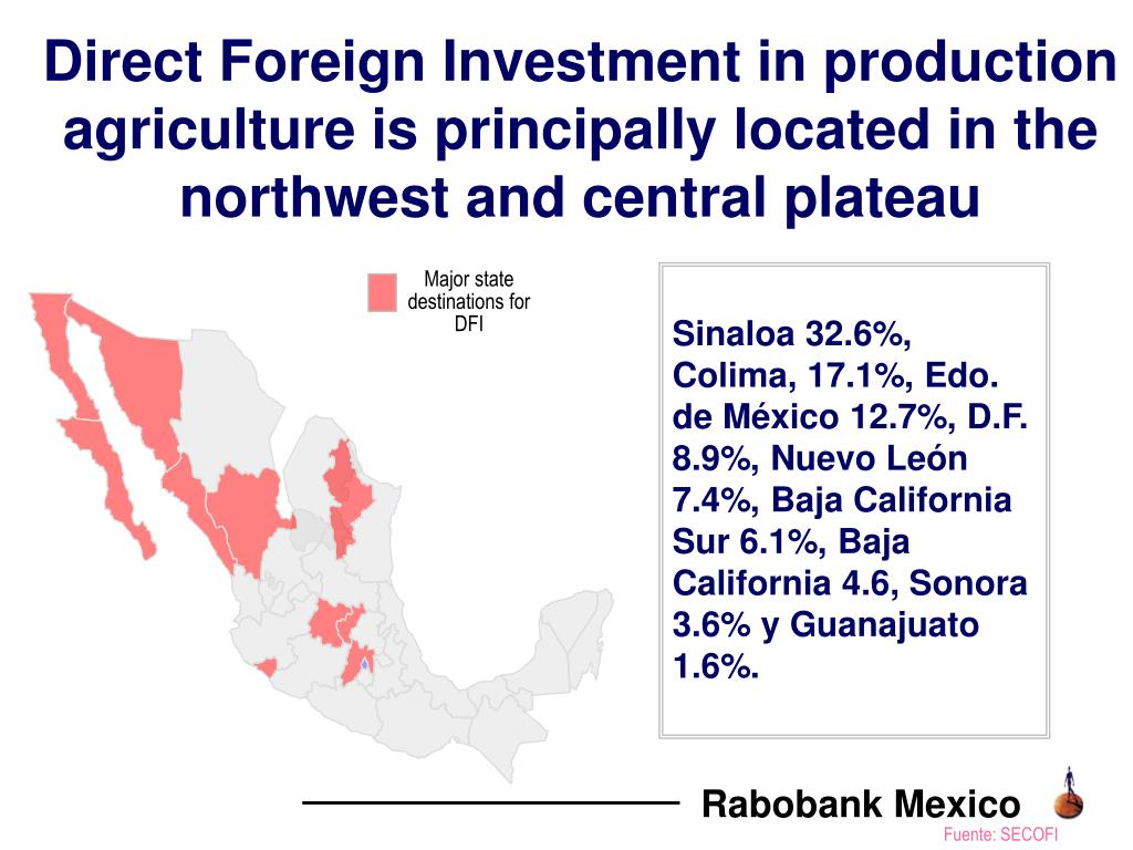 Direct Foreign Investment in production agriculture is principally located in the northwest and central plateau