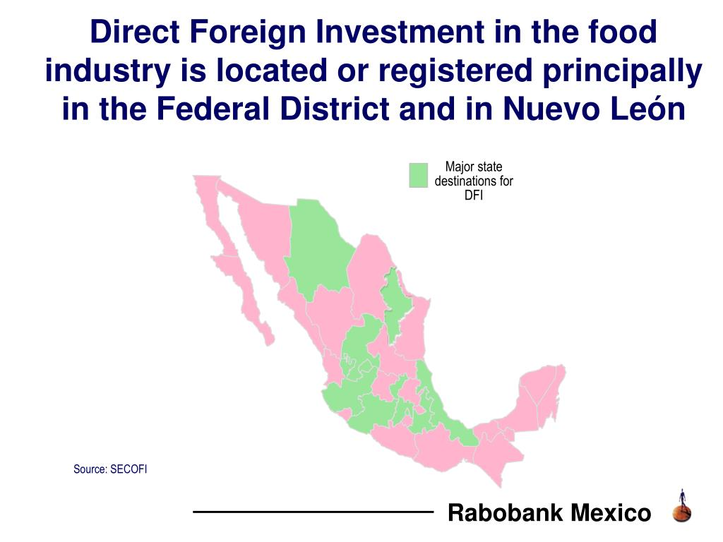 Direct Foreign Investment in the food industry is located or registered principally in the Federal District and in Nuevo León