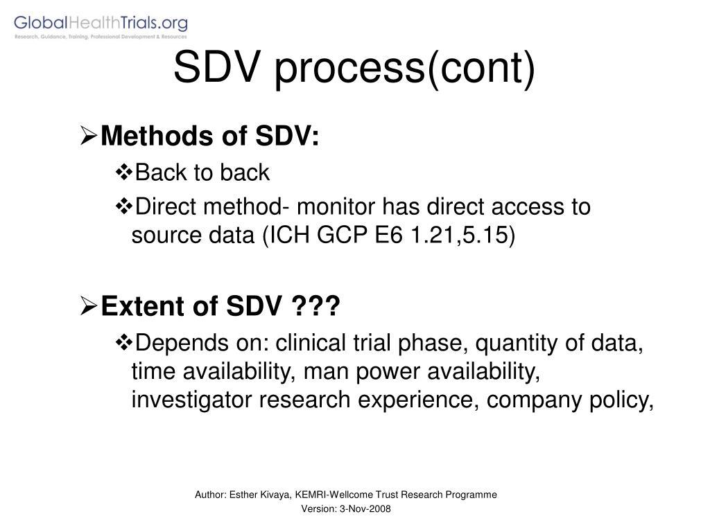 SDV process(cont)