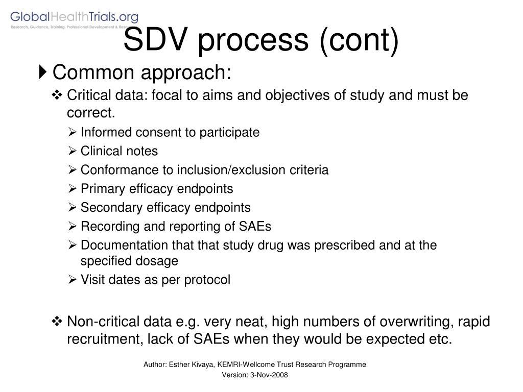 SDV process (cont)
