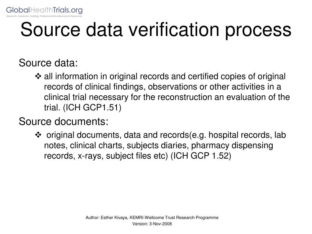 Source data verification process