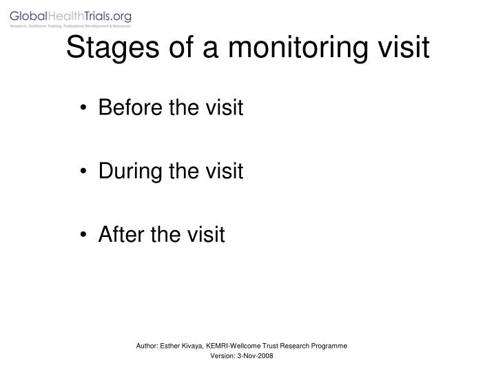 Stages of a monitoring visit