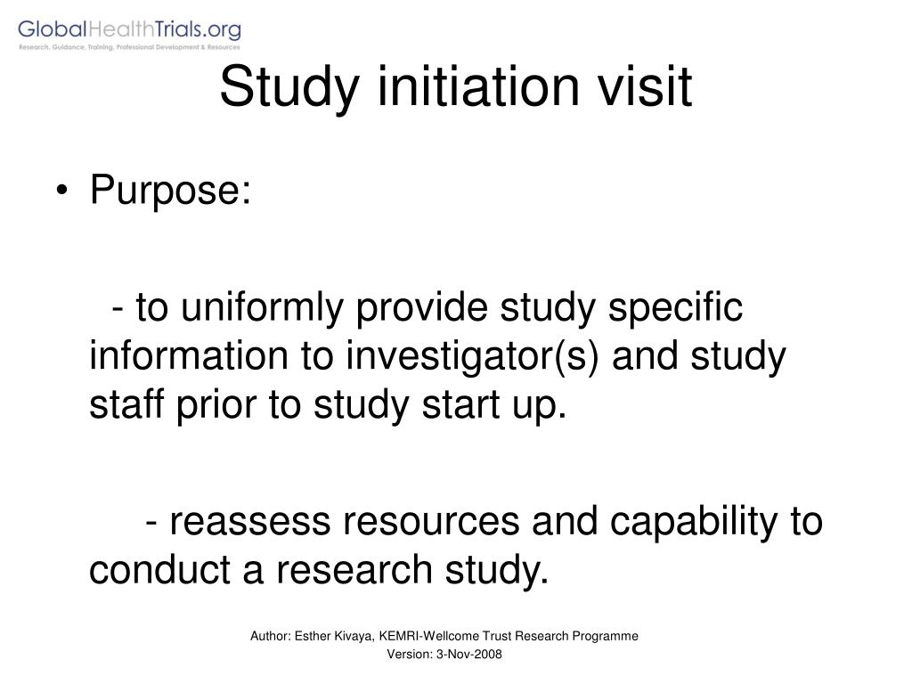 Study initiation visit