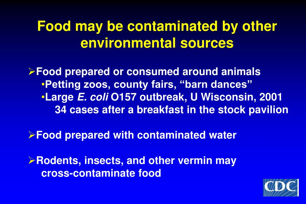 Food may be contaminated by other environmental sources