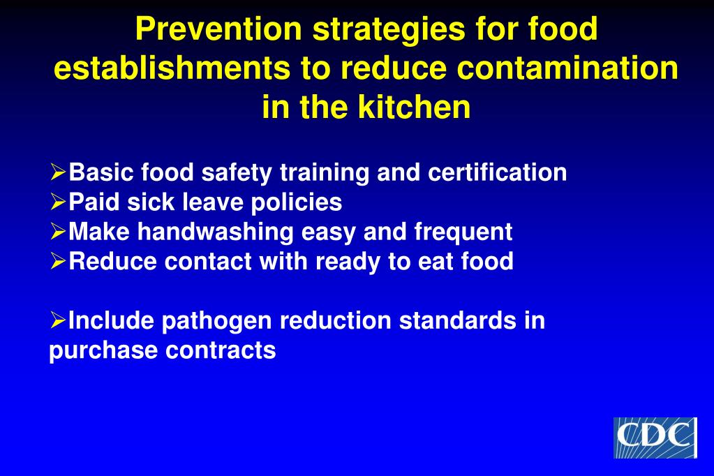 Prevention strategies for food establishments to reduce contamination in the kitchen