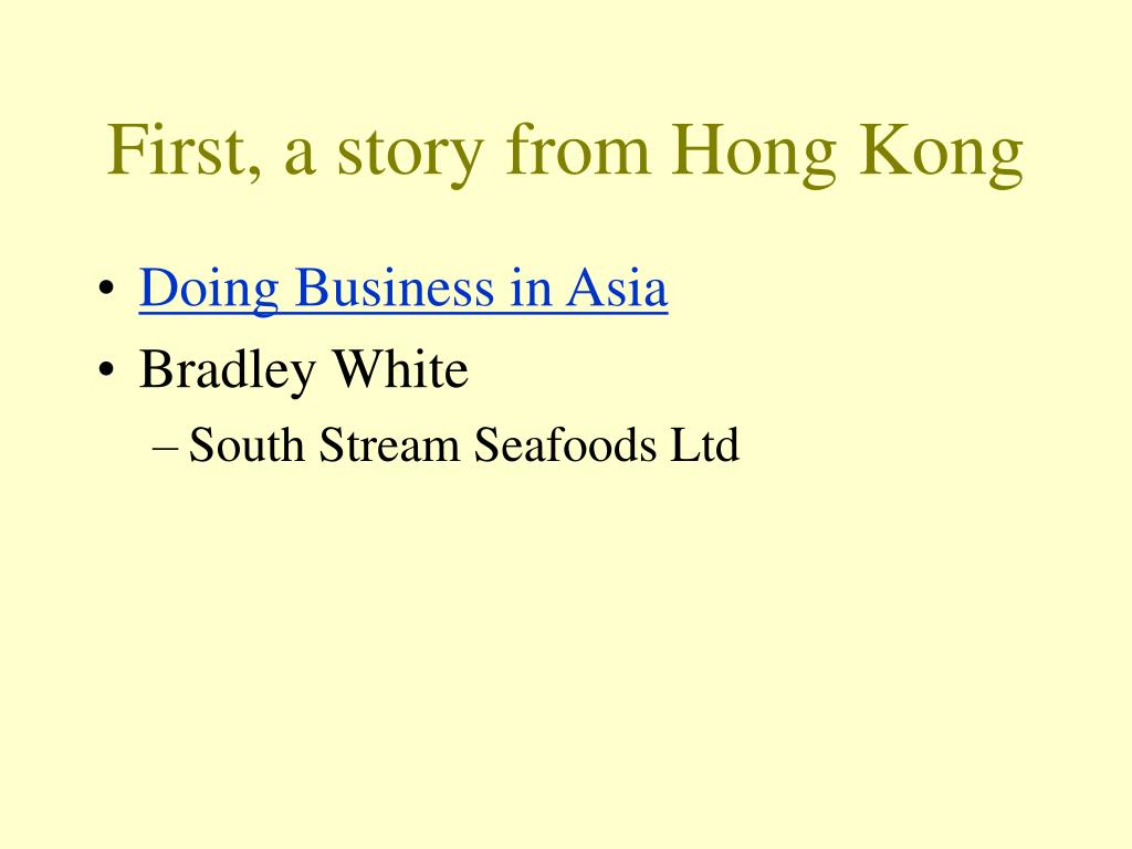 First, a story from Hong Kong