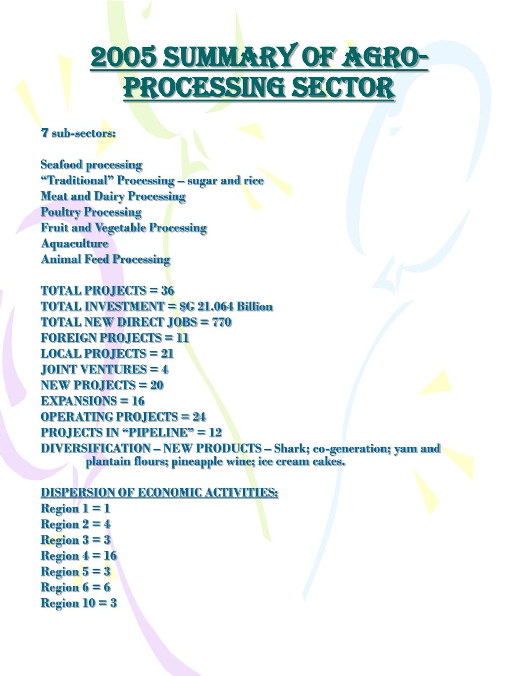 2005 SUMMARY OF AGRO-PROCESSING SECTOR