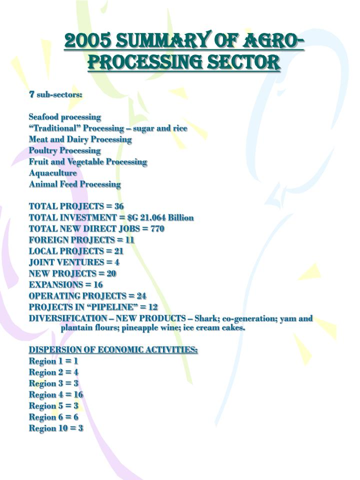 2005 summary of agro processing sector