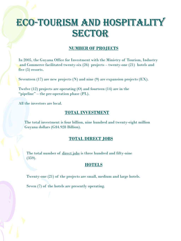 ECO-TOURISM AND HOSPITALITY SECTOR