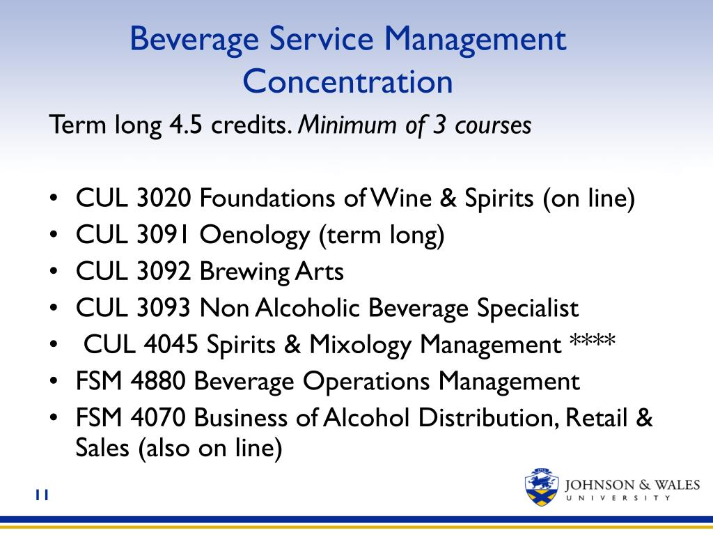 Beverage Service Management Concentration