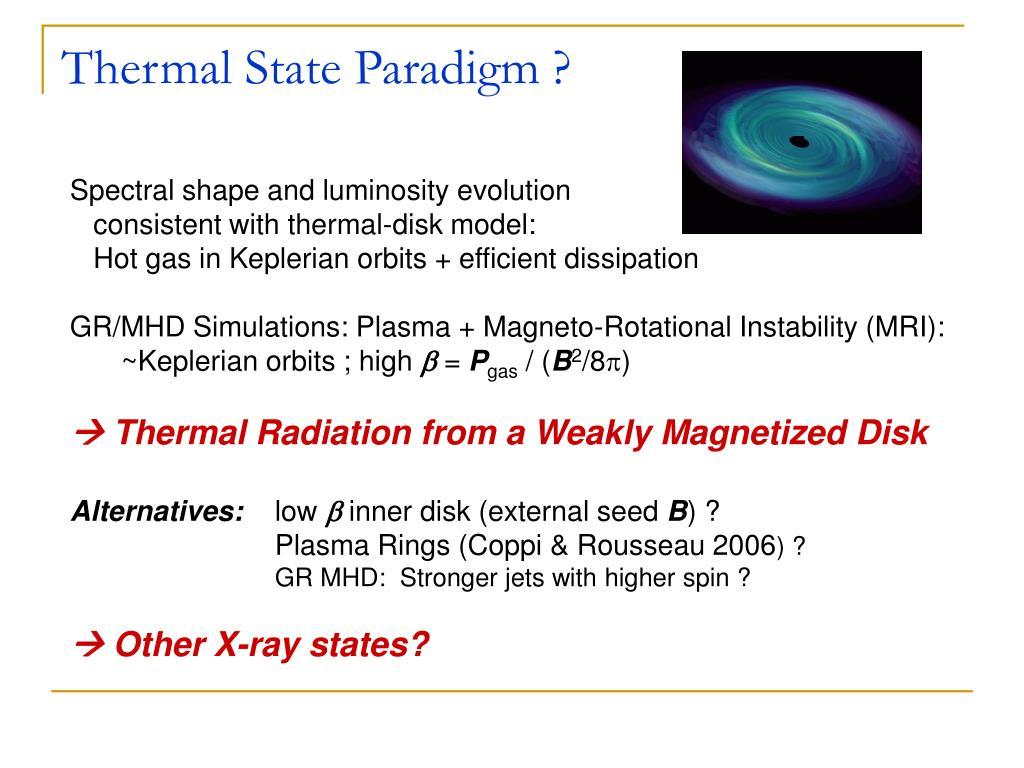 Thermal State Paradigm ?