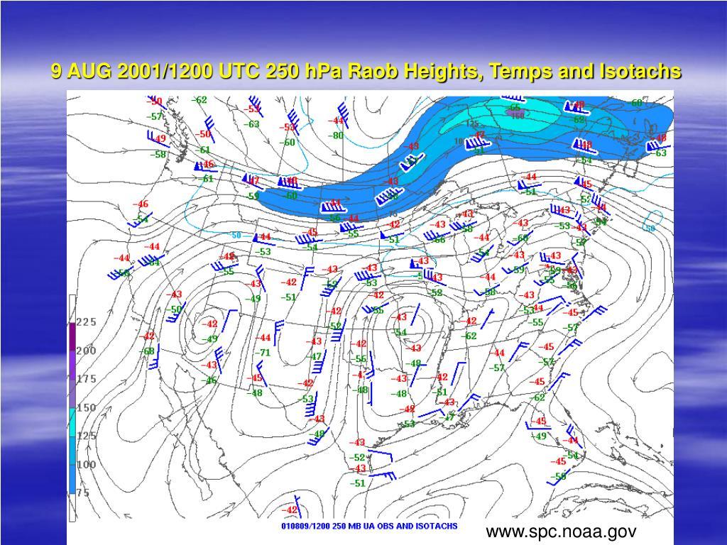 9 AUG 2001/1200 UTC 250 hPa Raob Heights, Temps and Isotachs