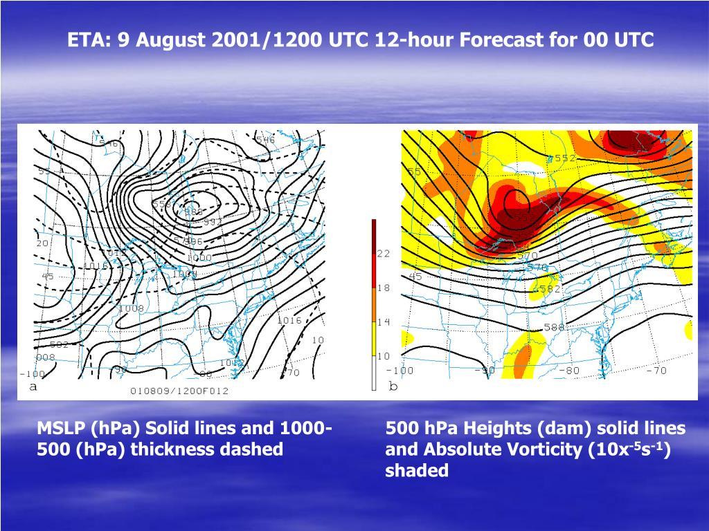 ETA: 9 August 2001/1200 UTC 12-hour Forecast for 00 UTC