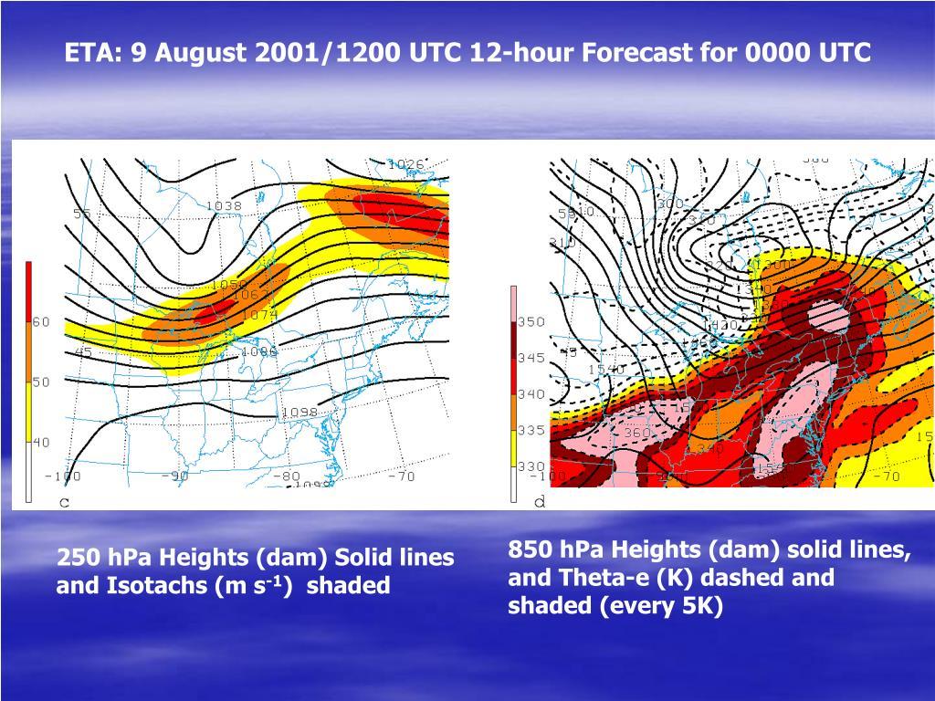 ETA: 9 August 2001/1200 UTC 12-hour Forecast for 0000 UTC