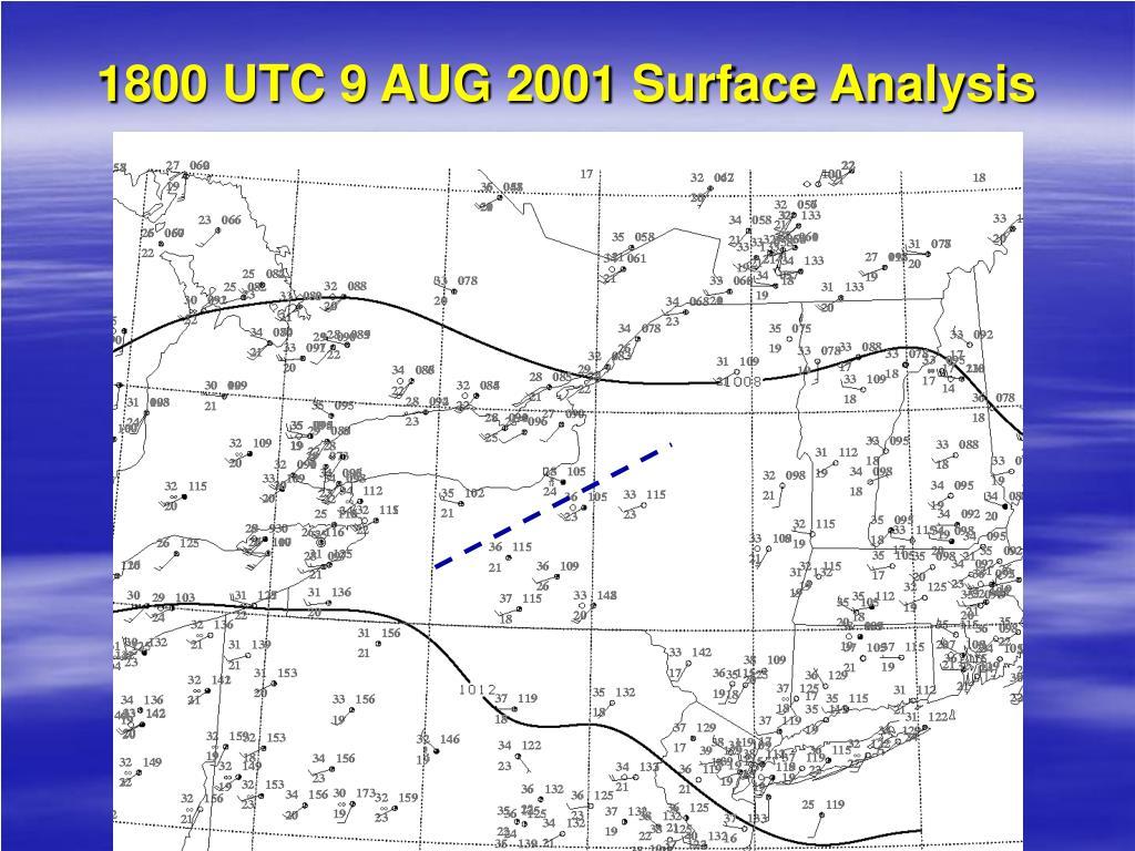1800 UTC 9 AUG 2001 Surface Analysis