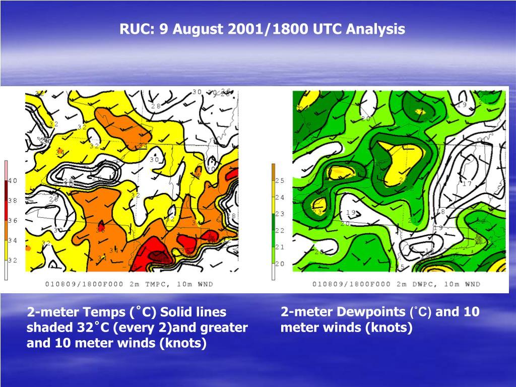 RUC: 9 August 2001/1800 UTC Analysis