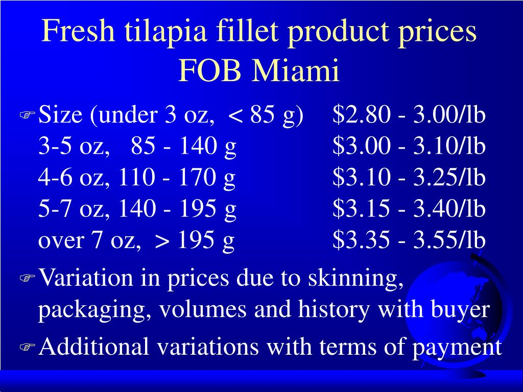 Fresh tilapia fillet product prices