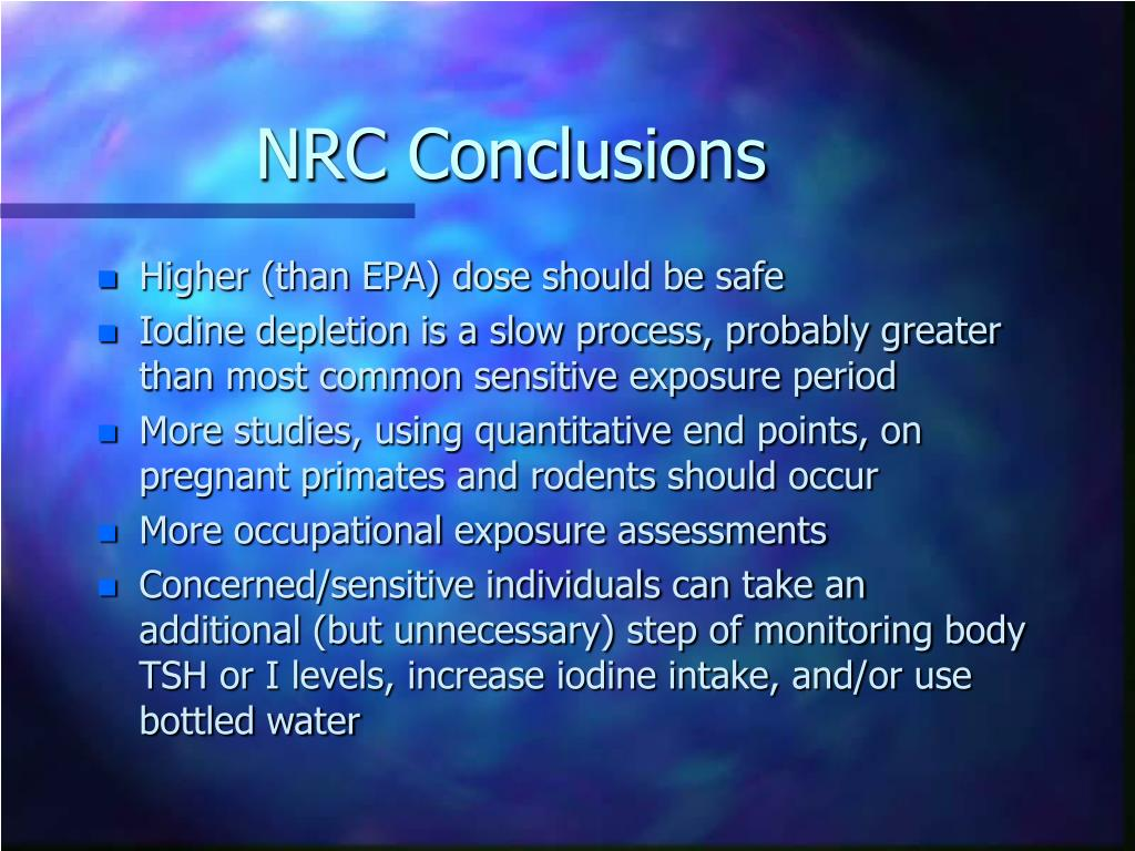 NRC Conclusions
