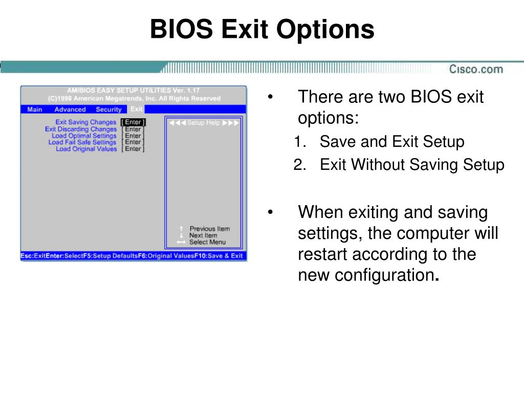 BIOS Exit Options