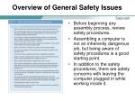 overview of general safety issues
