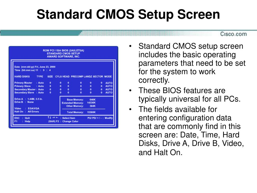 Standard CMOS Setup Screen