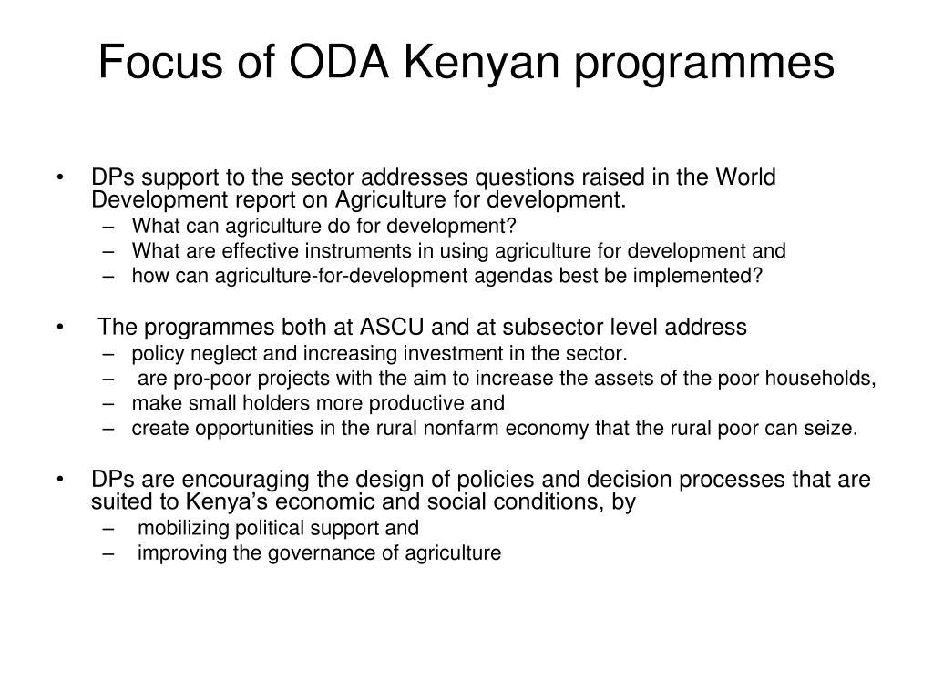Focus of ODA Kenyan programmes
