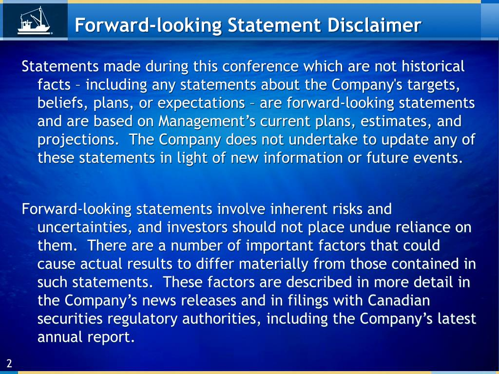 Forward-looking Statement Disclaimer