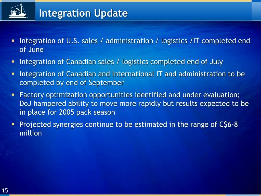 Integration Update