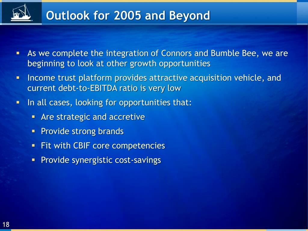 Outlook for 2005 and Beyond