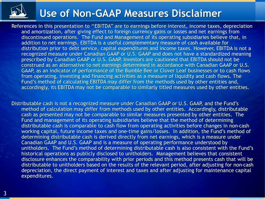 Use of Non-GAAP Measures Disclaimer