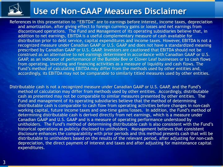 Use of non gaap measures disclaimer
