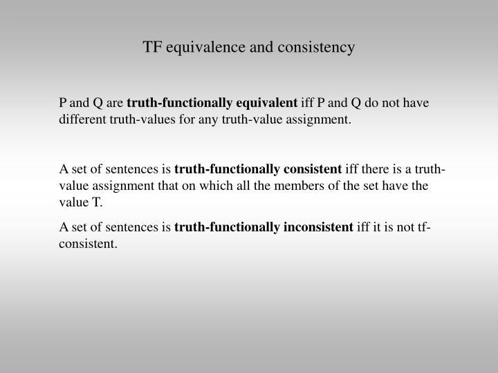 TF equivalence and consistency