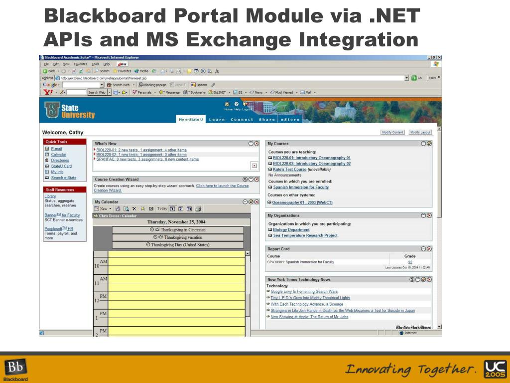 Blackboard Portal Module via .NET APIs and MS Exchange Integration