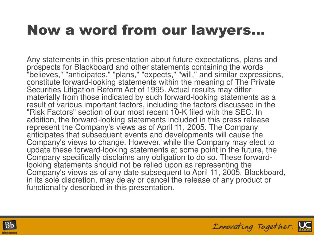 Now a word from our lawyers…