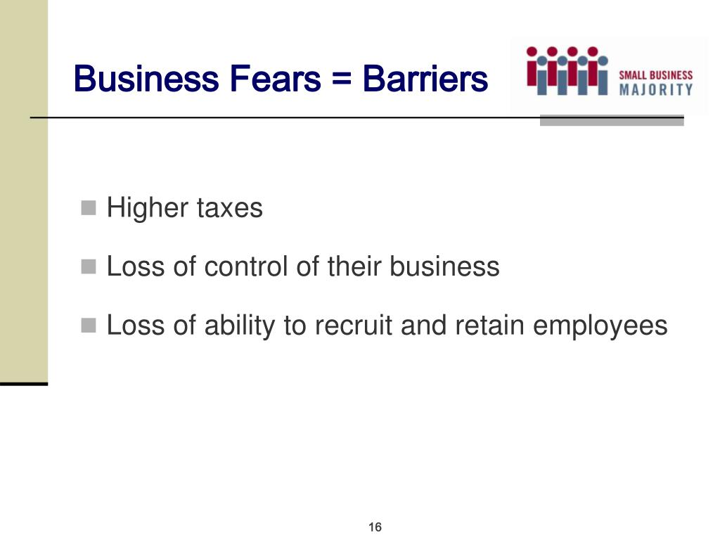 Business Fears = Barriers