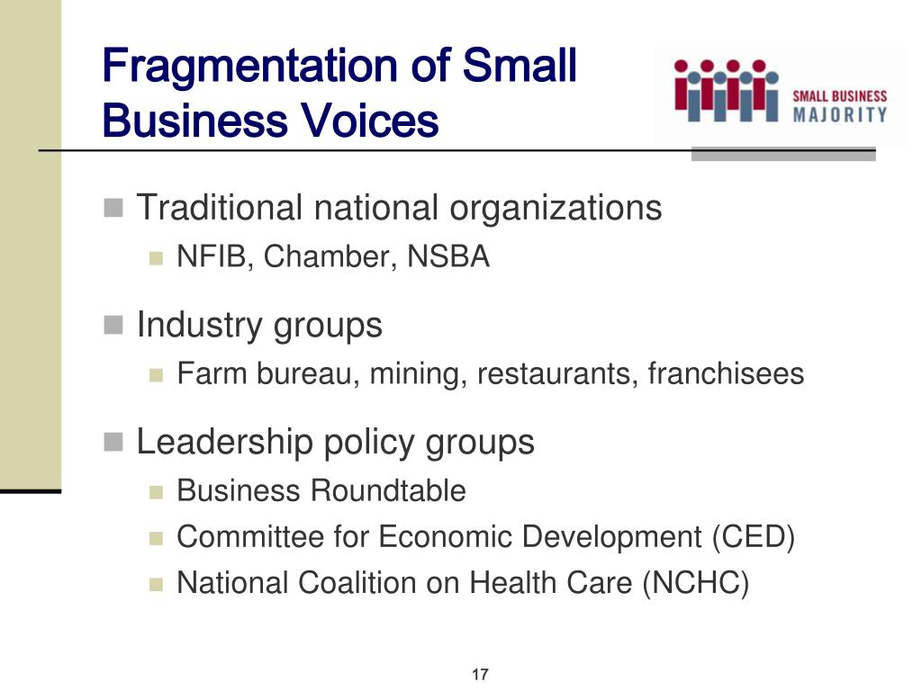 Fragmentation of Small Business Voices