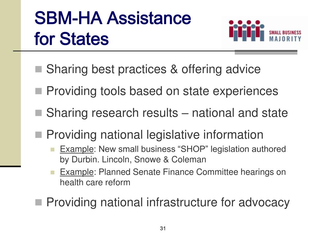 SBM-HA Assistance for States