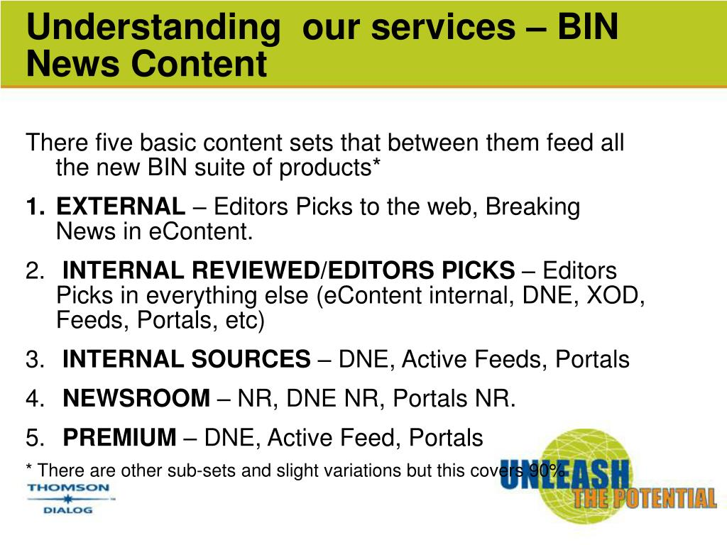 Understanding  our services – BIN News Content